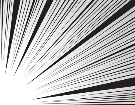 만화 및 만화 책 속도 라인 배경. 슈퍼 히어로 동작, 폭발 배경입니다. 흑인과 백인 벡터 일러스트 레이션 일러스트