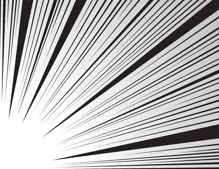 Comic and manga books speed lines background. Superhero action, explosion background. Black and white vector illustration