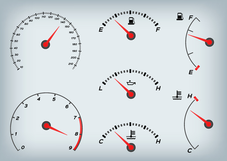 Speedometer for car . Fuel Gauge and Tachometer vector