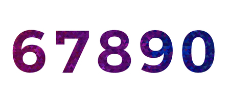 Colorful sample font number of 6, 7, 8, 9 and 0. Illustration