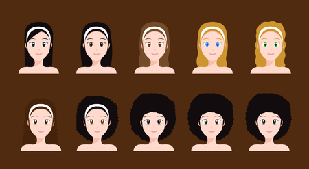 Set of different hairstyles icon.