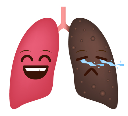 Happy and sad lungs icon.
