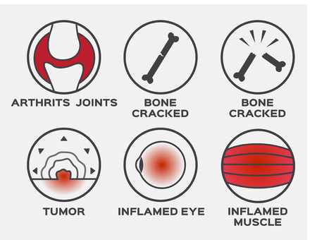 health icon vector / set / arthritis joints bone cracked tumor inflamed eye muscle