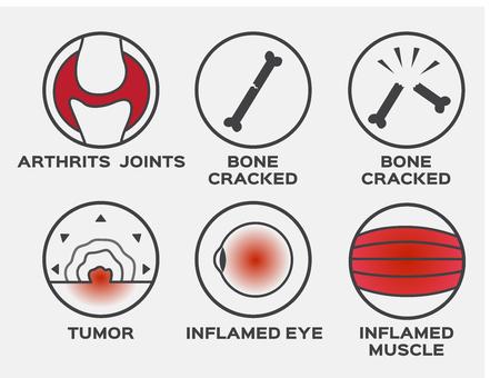 health icon vector  set  arthritis joints bone cracked tumor inflamed eye muscle Illustration