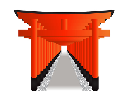 Red Tori Gate  Fushimi Inari Shrine in Kyoto, Japan vector