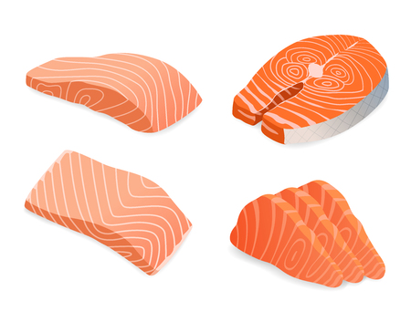 red fish salmon for sushi food menu vector illustration Isolated white background. Illustration