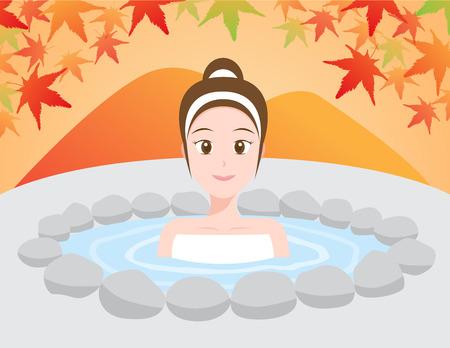 women in Japanese onsen ( hot spring ) vector