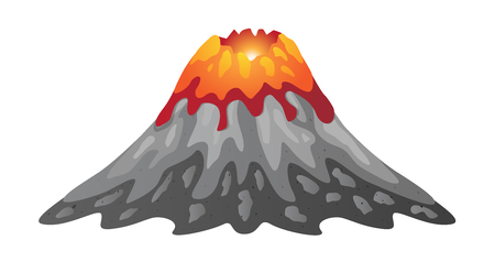 volcano and lava infographic vector Illustration