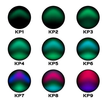 Északi fény aurora kp szint. ikon és vektor.