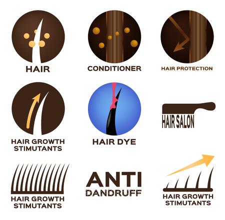 Hair logo set vector , 9 icon.