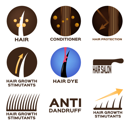 Hair logo set vector , 9 icon.