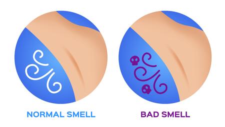armpit good and bad smell illustration. Vettoriali