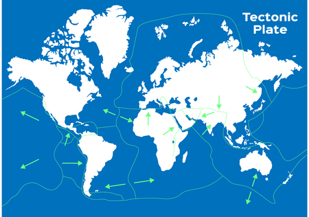 world map and tectonic plates vector