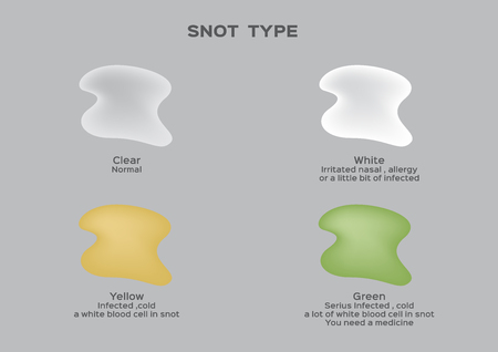 Snot mucus type vector illustration.