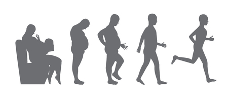 fat to slim body - diet concept, weight loss Vector illustration.