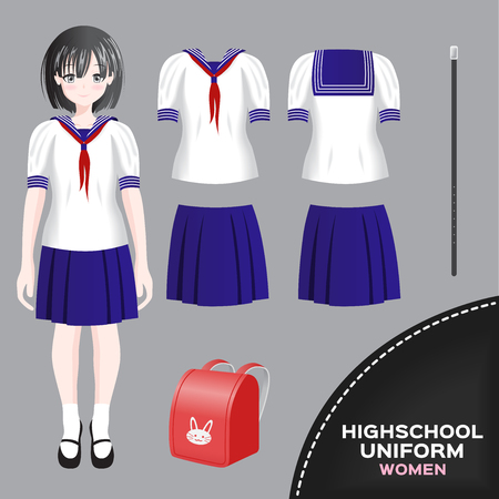 Asian women university and high school uniform set Illustration