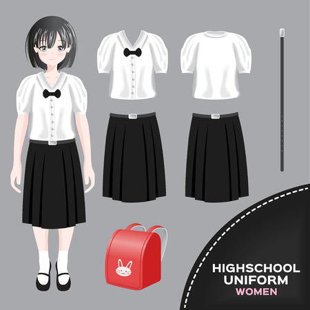 asian women university and high school uniform set / Thai 向量圖像
