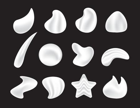 Icons of white moisturizer, collagen foam cream Mousse and soap lotion. Illusztráció