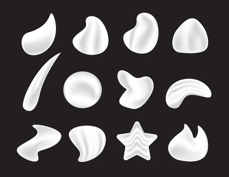 Icons of white moisturizer, collagen foam cream Mousse and soap lotion. Illustration