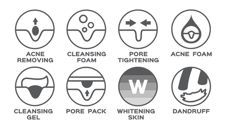 skin icon set vector / allergy acne moisturizer hair conditioner collagen aging 0% calorie Illustration