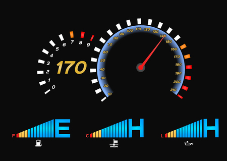 Speedometer for car . Fuel Gauge and Tachometer vector
