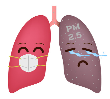 healthy lung with mask and pm 2.5 lung vector