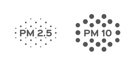 air pollution . pm 2.5 - 10 vector icon