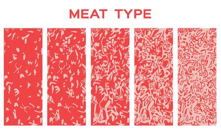 5 Rindfleischsorten mit saftigem Fett. Prämie - Vektor
