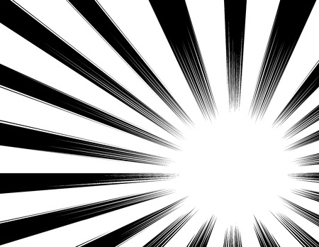 Sfondo di linee di velocità di fumetti e manga. sfondo di esplosione. Illustrazione vettoriale in bianco e nero / versione a colori Vettoriali