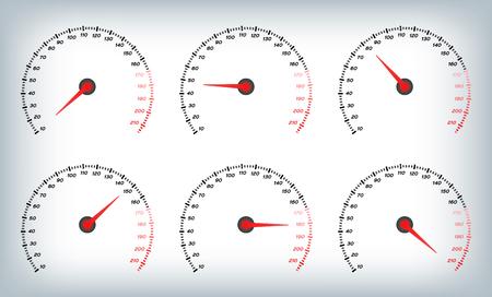 Speedometer for car . Fuel Gauge and Tachometer / meter vector