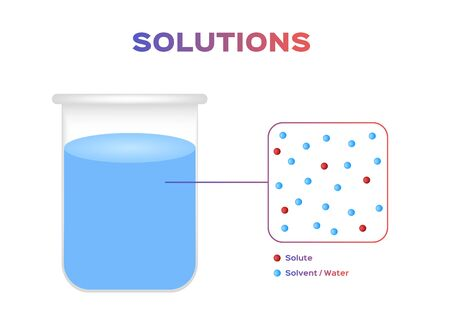 solution of water infographic vector, dissolve and solvent
