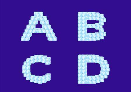 ice cube alphabet font, typography vector Illustration