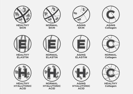 all skin icon set (elastin hyaluronic acid collagen)