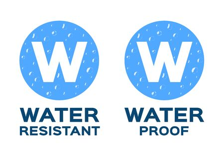 Water resistant and water proof logo, icon and vector. blue Water version Ilustração