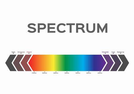 Infografik der Farbe des sichtbaren Spektrums. Sonnenlichtfarbe Vektorgrafik