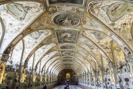 Munich , Germany - October 24, 2019: Antiquarium of Munich Residenz ( Residence ) . Sajtókép