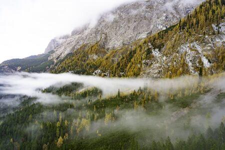 Zugspitze Mountain in Germany fog weather Stock fotó