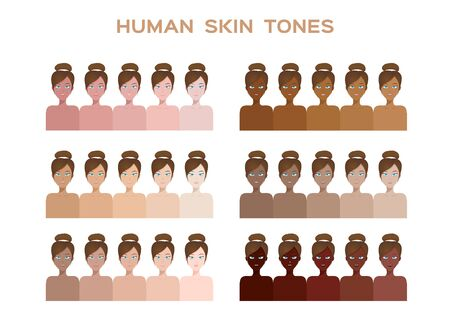 skin color index, infographic vector. dark to light skin  イラスト・ベクター素材