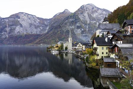 Scenic of Hallstatt mountain village in the Austrian , salzburg  autumn Sajtókép
