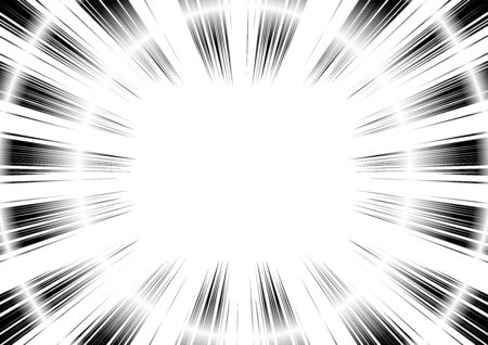 Comic and manga books speed lines background. curve circle, explosion background. Black and white vector illustration