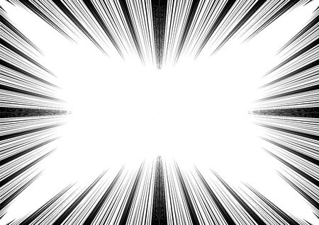 Comic and manga speed lines background. Superhero action, explosion background. Black and white vector illustration Vettoriali