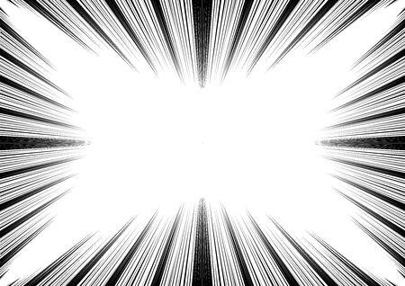 Comic and manga speed lines background. Superhero action, explosion background. Black and white vector illustration Векторная Иллюстрация