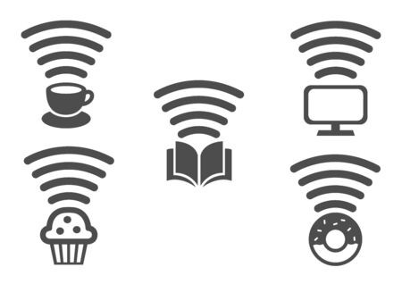 wifi and signal sensor icon set for shop and store / tv coffee donut book bekery