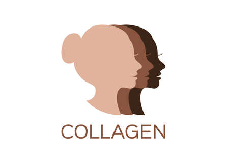 women collagen , vector , icon . skin color second version / on white