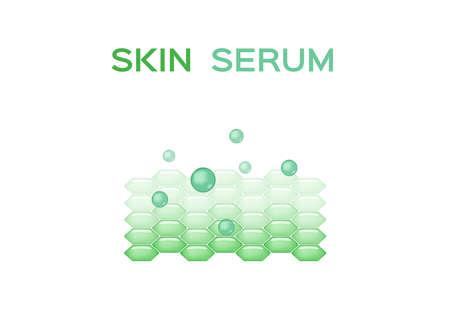 skin serum vector / collagen and moisturizer / green on white