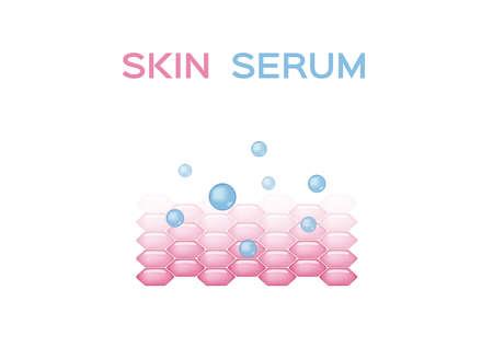 skin serum vector / collagen and moisturizer / pink grey on white