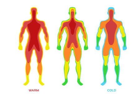 Body temperature vector / warm cold on white