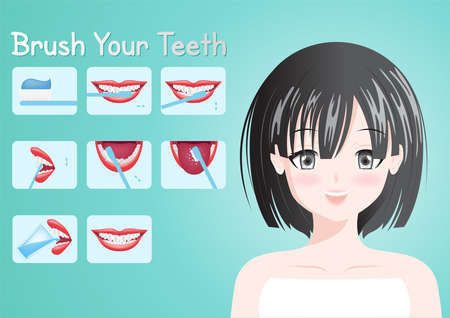 How to brush your teeth vector / mouth concept . Toothbrush and toothpaste . health and dental care infographic