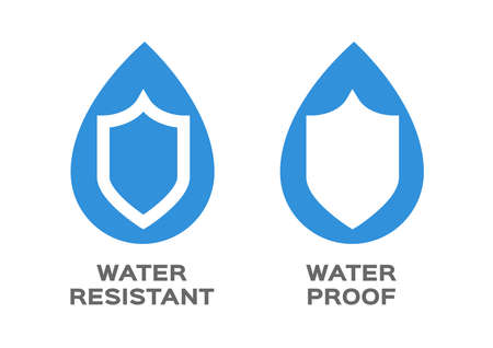 Water resistant and water proof logo , icon and vector . blue Water version Ilustrace