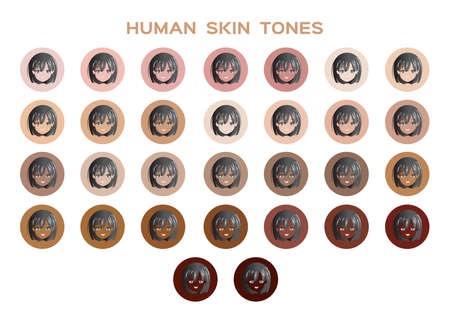 skin tone index color . infographic vector and women face on white